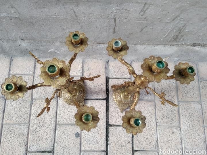 Antigüedades: Candelabros bronce pareja - Foto 8 - 244775840