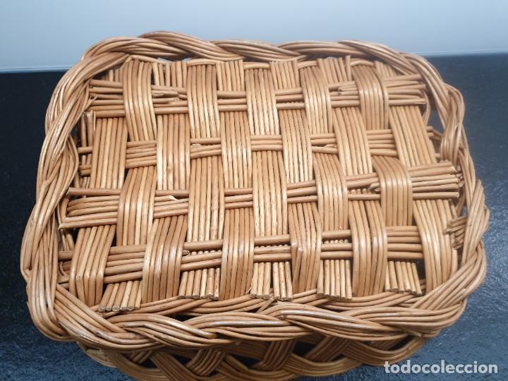 Antigüedades: Antigua Bandeja Cesta de Mimbre 32x40x12 (Envío 4,31€) - Foto 7 - 244782370