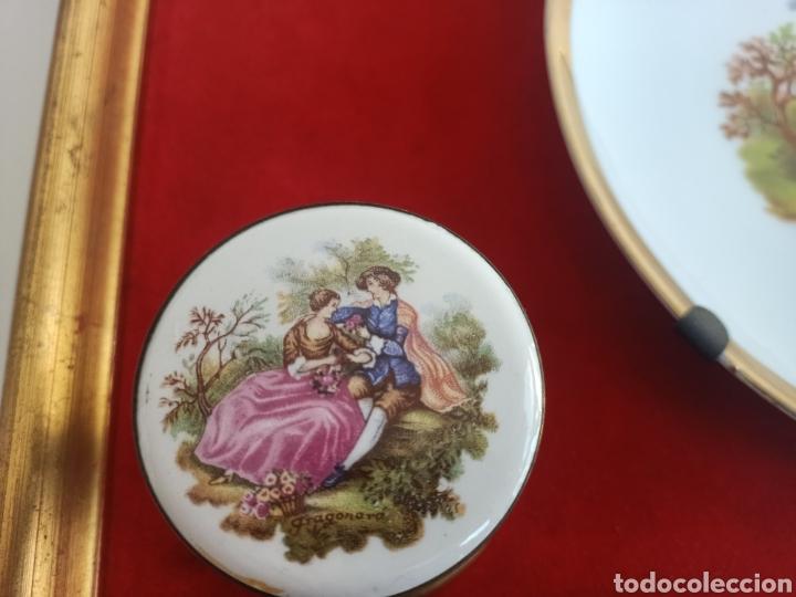 Antigüedades: Raro cuadro con plato y pomos de porcelana. Fragonard. - Foto 2 - 244853650