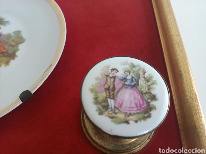 Antigüedades: Raro cuadro con plato y pomos de porcelana. Fragonard. - Foto 3 - 244853650