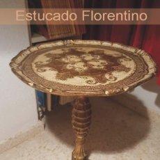 Antigüedades: MESITA VELADOR - ESTUCO FLORENTINO. Lote 244858240