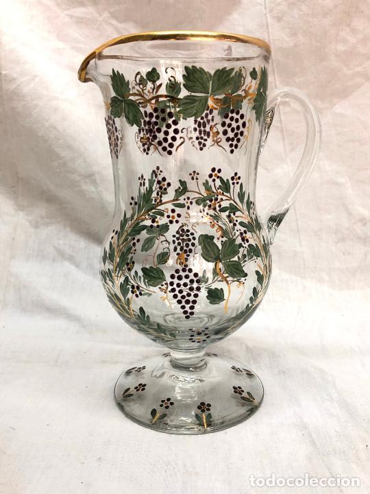 JARRA DE CRISTAL DE LA GRANJA PINTADO Y SOPLADO A MANO FILO SUPERIOR EN ORO PERO TIENE ALGUNAS FALTA (Antigüedades - Cristal y Vidrio - La Granja)