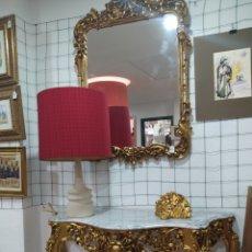 Antigüedades: CONSOLA CON ESPEJO MADERA TALLADA. Lote 244983415