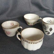 Antigüedades: LOTE DE 4 TAZAS DE PORCELANA SANTA CLARA. Lote 244991205