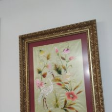 Antigüedades: BORDADO ANTIGUO SOBRE SEDA. Lote 245030185