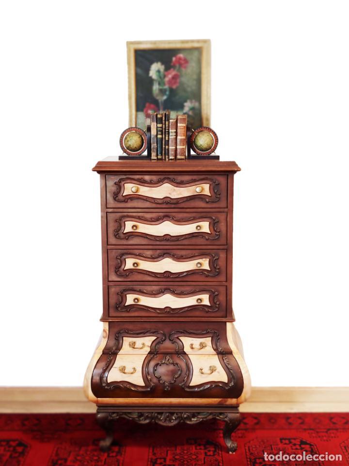 BELLO Y ELEGANTE MUEBLE AUXILIAR CON 6 CAJONES. INTERESANTE FORMA ABOMBADA. 132 X 72 X 43 CM DE FOND (Antigüedades - Muebles Antiguos - Auxiliares Antiguos)