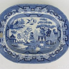 Antigüedades: BANDEJA EN LOZA INGLESA CINA BLUE - SIGLO XIX - SELLO IMPRESO Y NUMERACIÓN INCISA. Lote 245080545