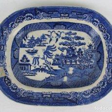 Antigüedades: BANDEJA EN LOZA INGLESA CINA BLUE - SIGLO XIX - SELLO ILEGIBLE INCISO EN DORSO. Lote 245081650
