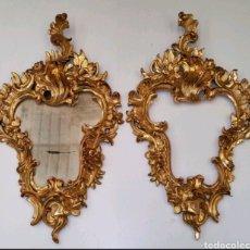 Antigüedades: CORNUCOPIAS ANTIGUAS DE MADERA Y PAN ORO. Lote 245096405