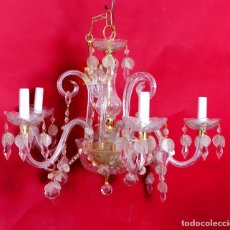 Antigüedades: LAMPARA ANTIGUA DE CRISTALES. Lote 245107495