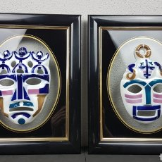 Antigüedades: PAREJA DE MASCARAS DE SARGADELOS ENMARCADAS / CUADRO. PERFECTO ESTADO.. Lote 245120915