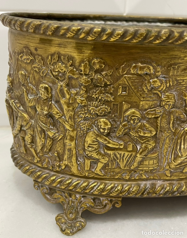 Antigüedades: ANTIGUA JARDINERA DE LOS PAÍSES BAJOS EN LATÓN SIGLO XIX - Foto 6 - 245128060