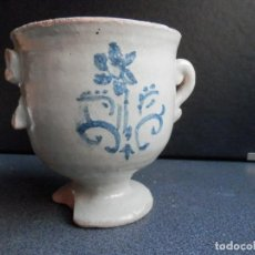 Antigüedades: RARÍSIMO MORTERO FARMACIA SIGLO XVII ALFAR DE MUEL ZARAGOZA - 11 X 10 CENTÍMETROS. Lote 245130175