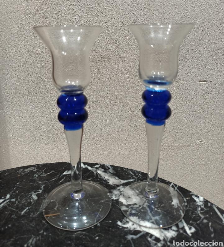 PAREJA DE COPAS DE LICOR DE MURANO 15CM (Antigüedades - Cristal y Vidrio - Murano)