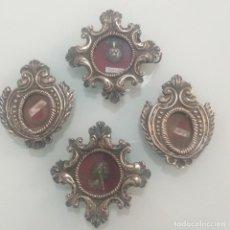 Antigüedades: CUATRO RELICARIOS DE PLATA DE LEY. Lote 245202385