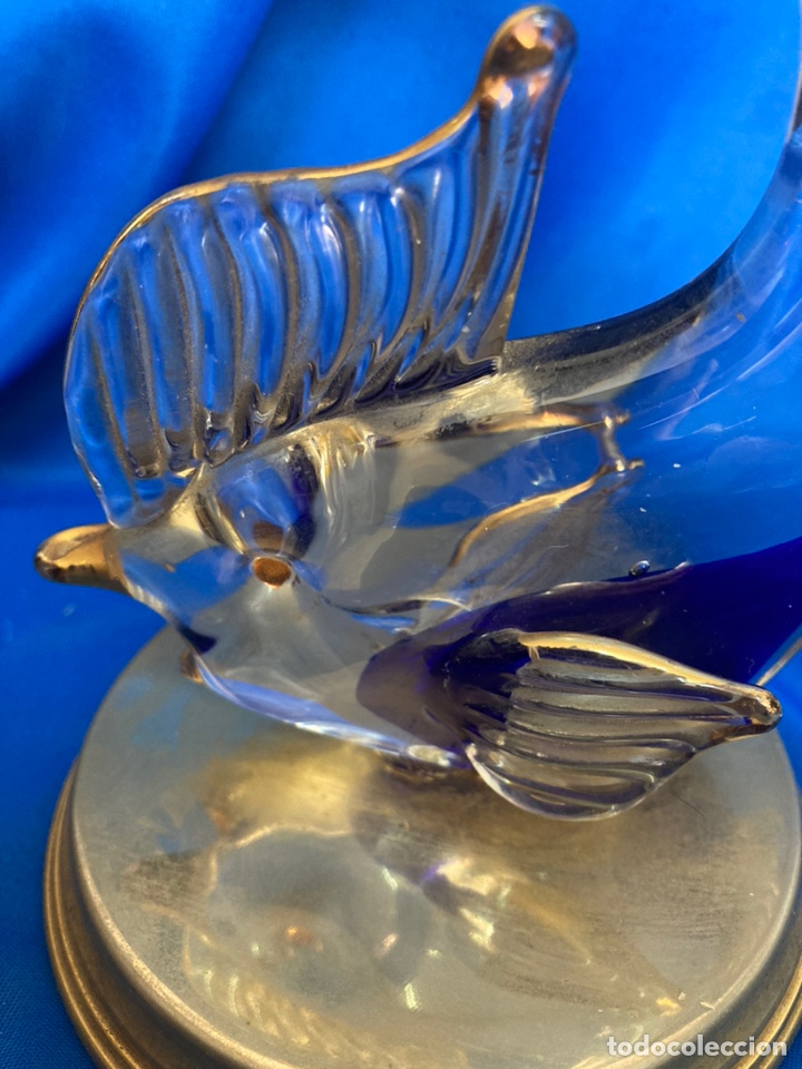 Antigüedades: Figura de cristal Italiano a dos colores, peana de Latón, - Foto 3 - 245215595