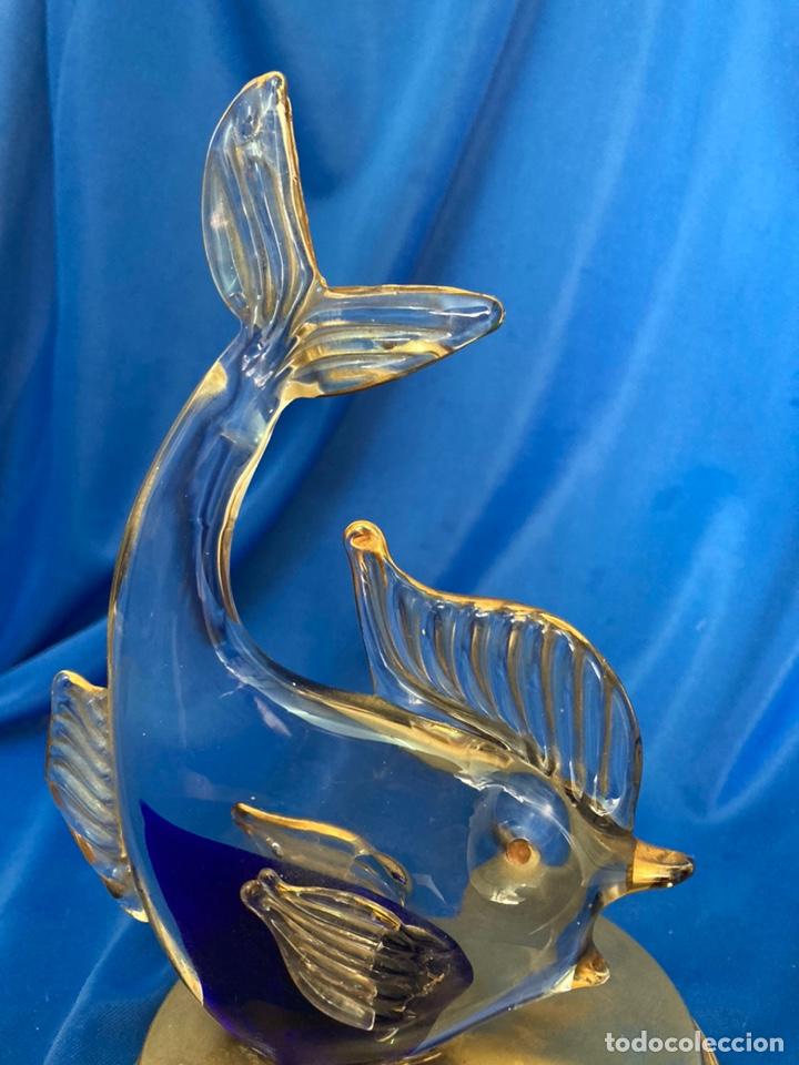 Antigüedades: Figura de cristal Italiano a dos colores, peana de Latón, - Foto 4 - 245215595