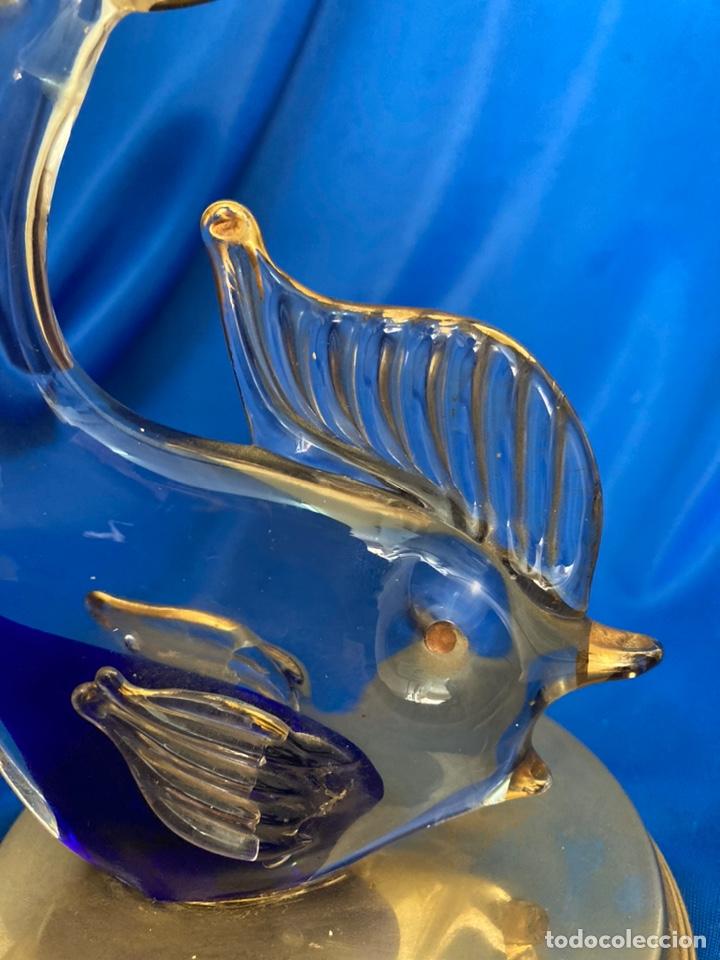 Antigüedades: Figura de cristal Italiano a dos colores, peana de Latón, - Foto 5 - 245215595