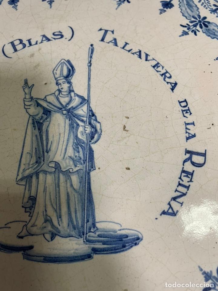 Antigüedades: Pastelera plana grande frutero Talavera Ruiz de Luna 36cm diámetro - Foto 5 - 245263540