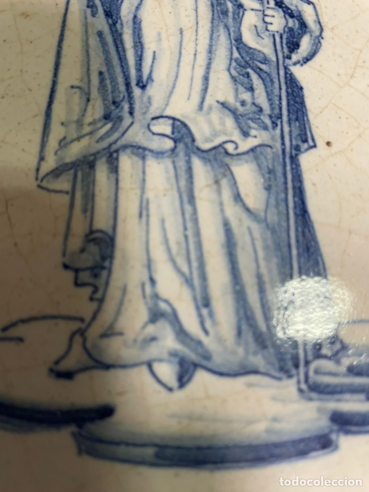 Antigüedades: Pastelera plana grande frutero Talavera Ruiz de Luna 36cm diámetro - Foto 6 - 245263540