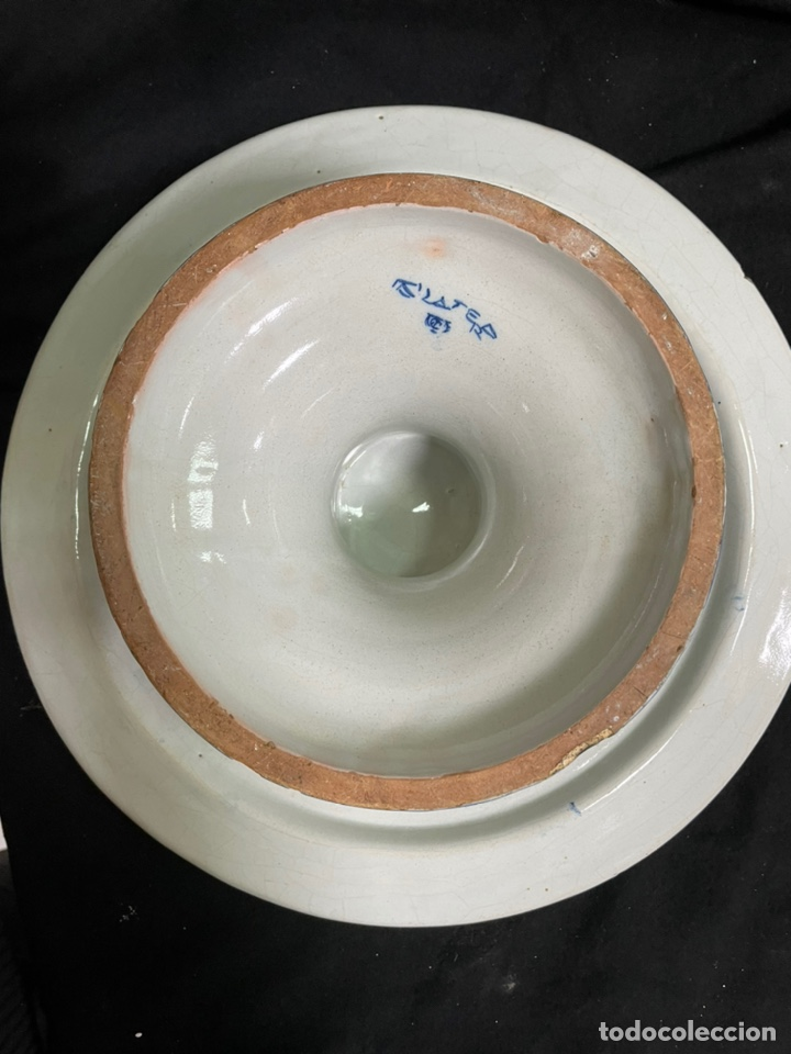 Antigüedades: Pastelera plana grande frutero Talavera Ruiz de Luna 36cm diámetro - Foto 15 - 245263540