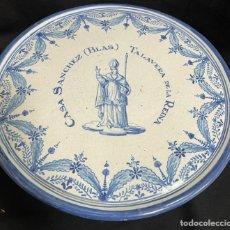 Antigüedades: PASTELERA PLANA GRANDE FRUTERO TALAVERA RUIZ DE LUNA 36CM DIÁMETRO. Lote 245263540