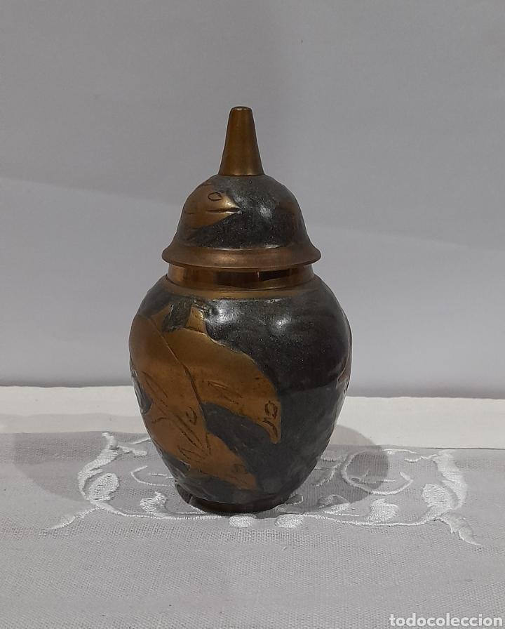 Antigüedades: Jarrón Antiguo de Bronce Esmaltado . Ver fotos. - Foto 3 - 245264550