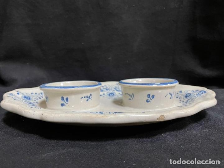 Antigüedades: Mancerina doble, bandeja Ruiz de Luna Talavera antigua, buen estado azul - Foto 3 - 245272660