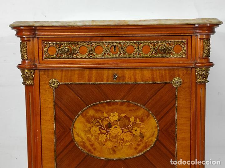 Antigüedades: Bonito Secreter Estilo Luis XV - Escritorio - Diferentes Maderas con Marquetería, Bronce y Mármol - Foto 13 - 245354475
