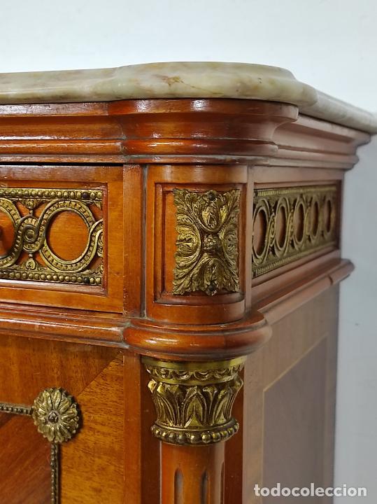 Antigüedades: Bonito Secreter Estilo Luis XV - Escritorio - Diferentes Maderas con Marquetería, Bronce y Mármol - Foto 18 - 245354475