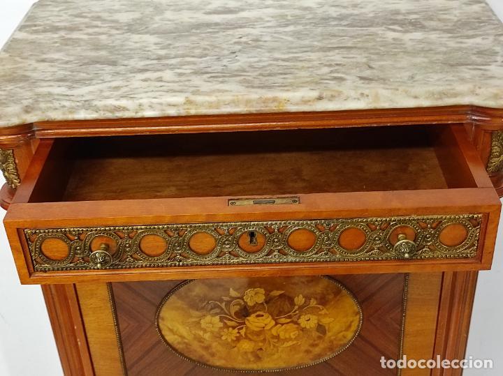 Antigüedades: Bonito Secreter Estilo Luis XV - Escritorio - Diferentes Maderas con Marquetería, Bronce y Mármol - Foto 22 - 245354475