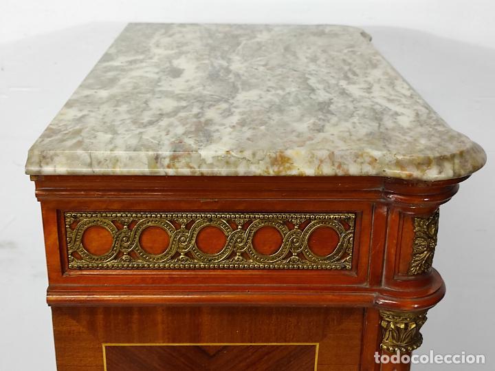 Antigüedades: Bonito Secreter Estilo Luis XV - Escritorio - Diferentes Maderas con Marquetería, Bronce y Mármol - Foto 36 - 245354475