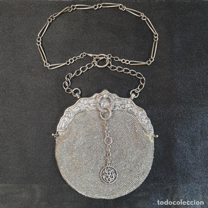 BOLSO PLATEADO (Antigüedades - Moda - Bolsos Antiguos)
