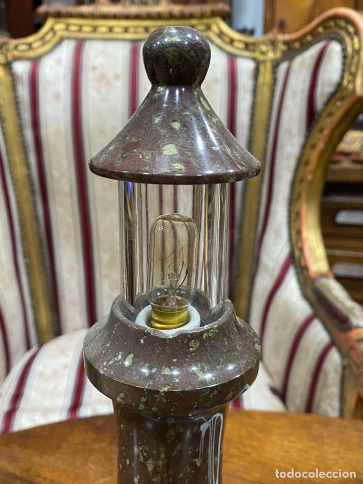Antigüedades: Lámpara Faro piedra tallada- Mármol - Foto 4 - 245379610