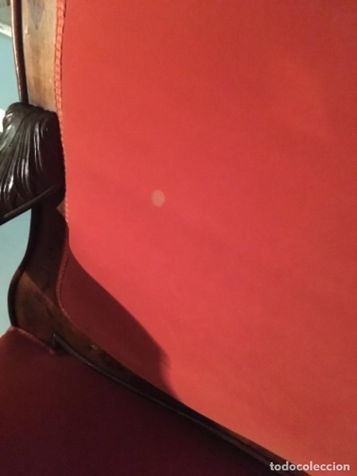 Antigüedades: Sofá con diferentes maderas embutidas de terciopelo. - Foto 6 - 245401490