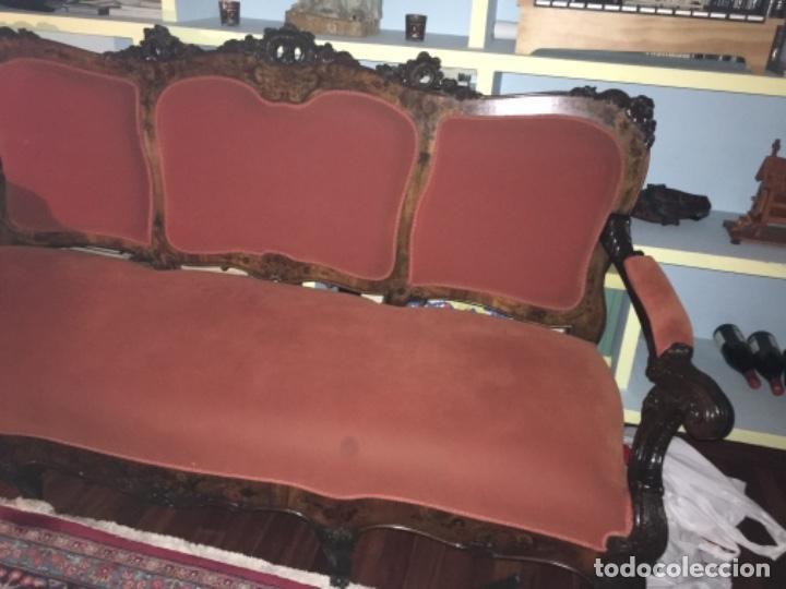 Antigüedades: Sofá con diferentes maderas embutidas de terciopelo. - Foto 7 - 245401490