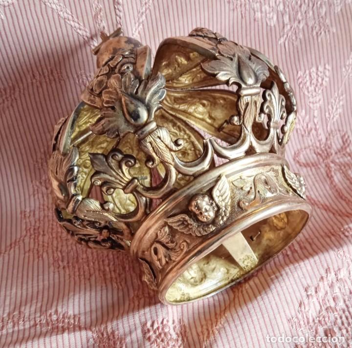 EXTRAORDINARIA CORONA PLATA SOBREDORADA PARA VIRGEN. S. XVIII. MUSEAL. CAP I POTA, IGLESIA. (Antigüedades - Religiosas - Orfebrería Antigua)
