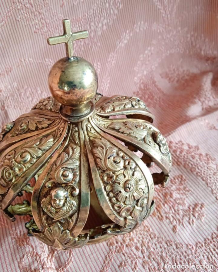 Antigüedades: Extraordinaria corona plata sobredorada para virgen. S. XVIII. Museal. Cap i pota, iglesia. - Foto 3 - 245411065