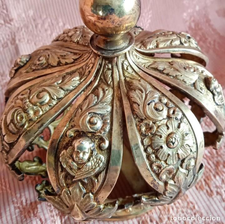 Antigüedades: Extraordinaria corona plata sobredorada para virgen. S. XVIII. Museal. Cap i pota, iglesia. - Foto 4 - 245411065