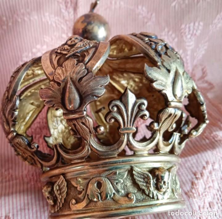Antigüedades: Extraordinaria corona plata sobredorada para virgen. S. XVIII. Museal. Cap i pota, iglesia. - Foto 5 - 245411065