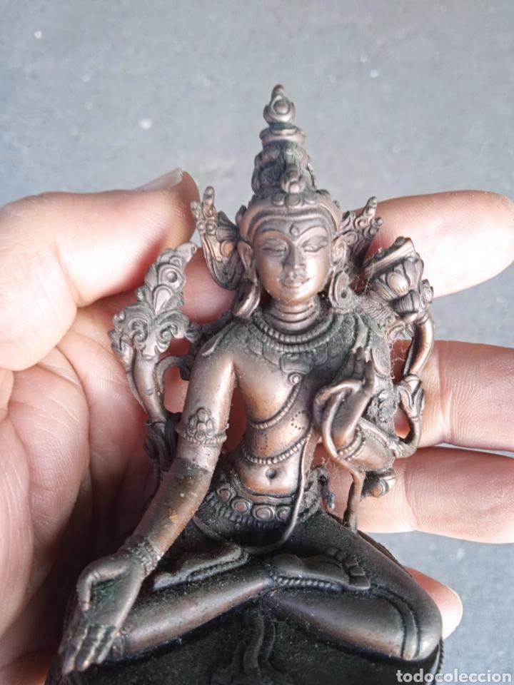 NEPAL DIOSA INDU INDIA BRONCE PRECIOSA FIGURA MUY ANTIGUA DE DIOSA INDU DE ORIGEN NEPAL ARTE ETNICO (Antigüedades - Religiosas - Varios)