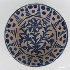 Antigüedades: FUENTE EN CERÁMICA AZUL DE FAJALAUZA - SIGLO XIX. Lote 245488465