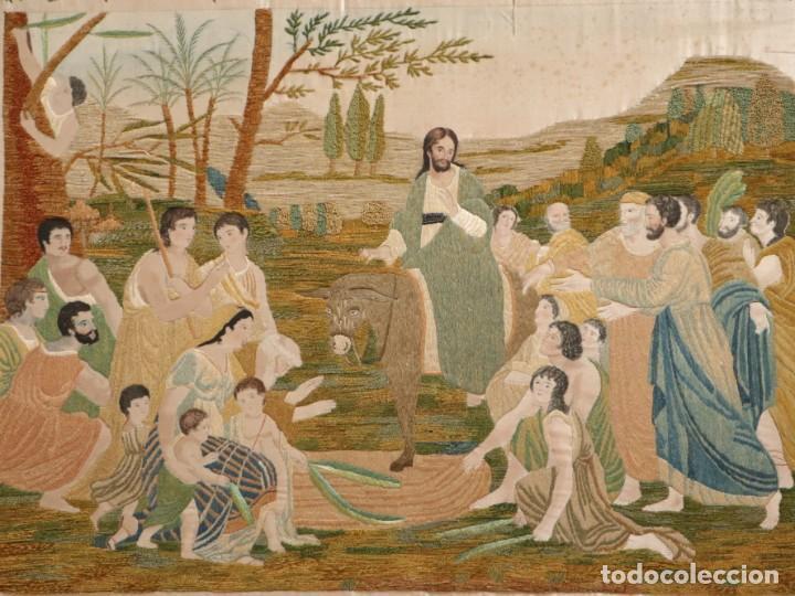 LA ENTRADA DE JESÚS EN JERUSALÉN. SEDAS BORDADAS POR CASILDA DE ITURRÍZAR (BILBAO 1818-1900). (Antigüedades - Religiosas - Varios)