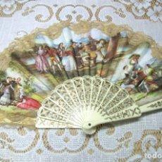 Antigüedades: ANTIGUO ABANICO CON ESTAMPADOS GOYESCOS Y ENCAJE. Lote 245503610