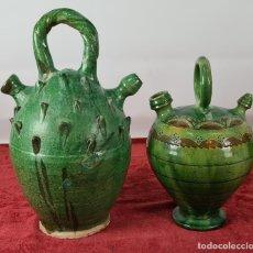 Antigüedades: PAREJA DE BOTIJOS. CERÁMICA ANDALUZA ESMALTADA Y VIDRIADA. ÚBEDA. SIGLO XX.. Lote 245528845