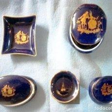Antigüedades: PRECIOSO CONJUNTO DE 5 PIEZAS DE PORCELANA DE LIMOGES CON PAN DE ORO.NUEVAS Y FIRMADAS. Lote 245533110