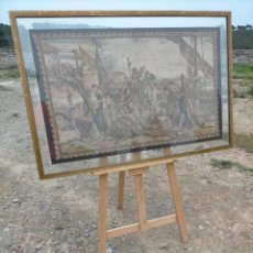 Antigüedades: ANTIGUO TAPIZ DE TELA ENMARCADO CON IMAGEN DE PUERTO NAVAL. Lote 245571070