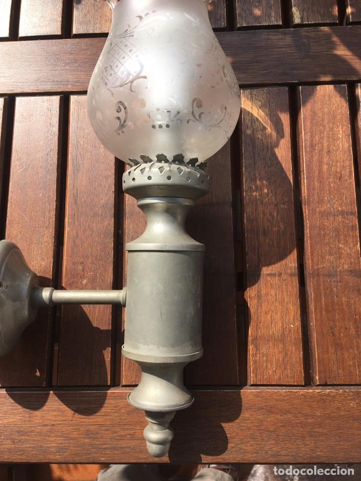 Antigüedades: Apliques de estaño y cristal - Foto 2 - 245574610