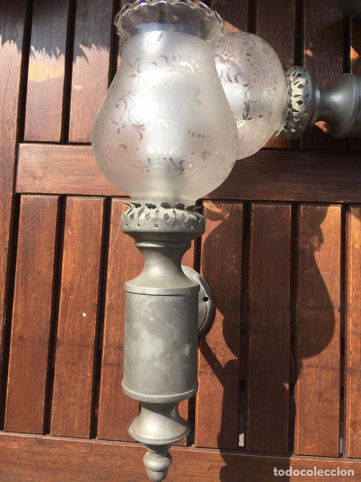 Antigüedades: Apliques de estaño y cristal - Foto 6 - 245574610