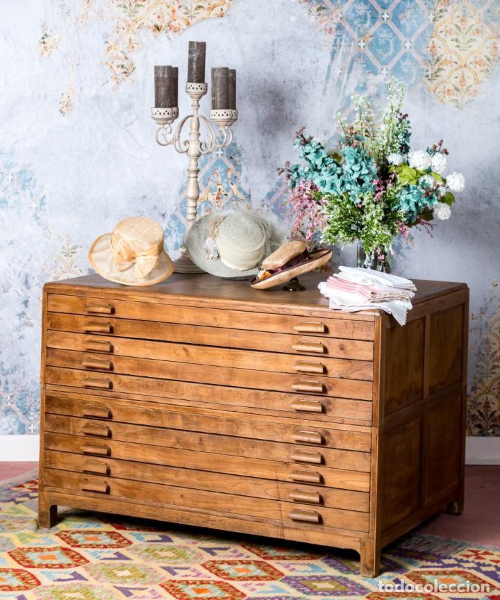 Antigüedades: Mueble Industrial Planero 1943 - Foto 2 - 245578970